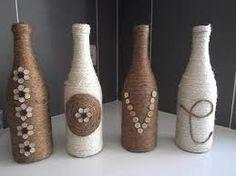 Resultado de imagem para decoração garrafas vidro reciclagem