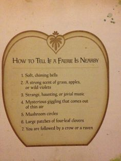 If a faerie is nearby...