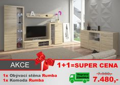 Obývací stěna Rumba + komoda v ceně - dub sonoma - DOPRAVA ZDARMA!!!