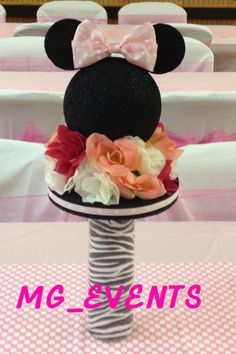 Minnie Mouse balloon arch, minnie/mickey mouse & zebra print goody bags, custom banner, minnie backdrop, minnie mouse party favors, Minnie Mouse centerpieces - MG_EVENTS