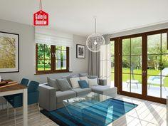 Wnętrze domu jest przejrzyste i doskonale skomunikowane. Dużą zaletą jest przestronny salon z wyjściem na taras, lub do ogrodu.