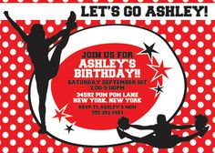 Red CHEERLEADING Birthday Party Themed Invitation size  4x6 or 5x7 --complete digital file--. $15.95, via Etsy.