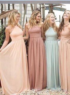 2016 New Cheap Summer Beach Bridesmaid Dresses Wedding Guest Wear Halter Long Floor Length Party Dress Plus…