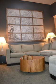 LOVE This DIY Map Art, And The Coffee Table They Made Out Of A Tree
