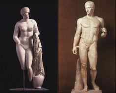 Praxiteles - Afrodite de Cnido (séc. IV a. C.); Policleto - Doríforo (séc. V a. C.)