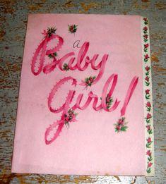 Vintage Cards Hallmark Baby Girl Pink with Roses by TheBackShak, $3.00
