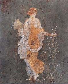 Pompeian wall painting: Flora with a cornucopia. Have always loved this painting.