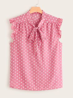 To find out about the Plus Polka Dot Tie Neck Frill Cuff Blouse at SHEIN, part of our latest Plus Size Blouses ready to shop online today! Fall Outfits, Kids Outfits, Cute Outfits, Fashion Outfits, Dress Neck Designs, Blouse Designs, Dresses Kids Girl, Blouse And Skirt, Plus Size Blouses