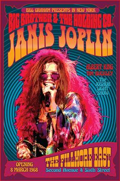 Janos Joplin 1968 Concert Poster II - Tallenge Vintage Rock Music Collection - Art Prints by Tallenge Store Psychedelic Rock, Janis Joplin, Rock Posters, Band Posters, Movie Posters, Cover Art, Wes Wilson, Fillmore East, Illustration Photo