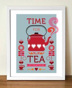 Tea Print, Kitchen Art, Mid century modern, Retro Poster, Time for Tea, Retro Kitchen Art, A3 door visualphilosophy
