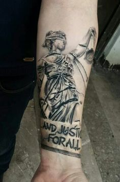 Lady Justice sleeve overlaying Notre Dame Fight song in background for my dad. Weird Tattoos, Baby Tattoos, Badass Tattoos, Body Art Tattoos, Tattoos For Guys, Tattoos For Women, Rock Tattoo, Arm Tattoo, Sleeve Tattoos