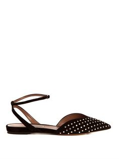 Tabitha Simmons Vera studded suede flats
