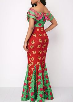 Printed Off The Shoulder Layered Mermaid Dress from Diyanu - Ankara Dresses, Shirts & Long African Dresses, Latest African Fashion Dresses, African Print Dresses, African Print Fashion, Africa Fashion, Ankara Skirt And Blouse, Ankara Dress, African Attire, African Wear