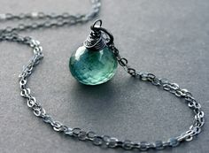 Moss Aquamarine Necklace with Oxidized Sterling Silver AAA March Birthstone Birthday. $40.00, via Etsy.