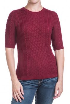 Type 3 Irish Summer Sweater - rich burgundy colored cable knit sweater features half-length sleeves. You know that long sleeves get pushed up anyway, so why not start with sleeves that stay out of the way?