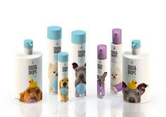 Dogs&Drops packaging - The clever concept depicts a group of dogs that seem to be begging for a cleansing scrub with the very items that humans use amidst their refreshing rituals.