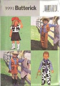 Butterick Pattern 3991 - Childrens Cowboy & Cowgirl Costumes  6,7,8 | eBay