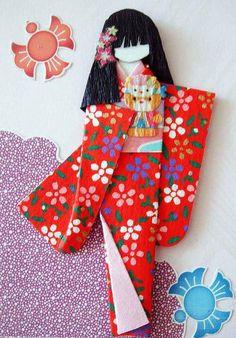 Japanese handicraft Origami - Kimono Girl
