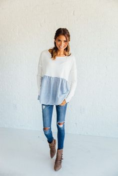 Built in cropped-looking top in white with a gathered gingham hem over skinny jeans & ankle boots.