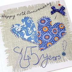 Handmade Sapphire Anniversary Card Stitched Blue Hearts Button Bow Appliqué Patchwork Sewing Crafts Happy 45th Anniversary 45 Years