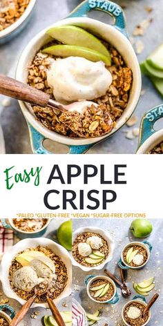 ThisHealthyApple Crisp is the perfect easy dessert or breakfast recipe for fall. Takes less than 10 minutes to make with sliced apples, cinnamon and a grain-free crisp topping. It's gluten-free, vegan, paleo, refined sugar-free and includes a low carb keto option.