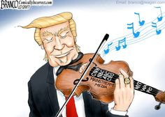 President Donald Trump is a maestro playing the media like a well tuned Stradivarius violin. Political Cartoon by A.F. Branco ©2017