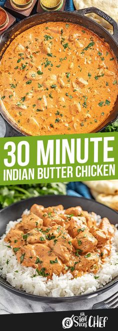 30 Minute Indian Butter Chicken Indian Butter Chicken is ready in under 30 minutes! The Makhani sauce and chicken come together with the most incredible spice and flavor. No one will believe it's not take-out! Butter Chicken Sauce, Indian Butter Chicken, Indian Food Recipes, Asian Recipes, Healthy Recipes, Ethnic Recipes, Vegetarian Recipes, Food Dishes, Main Dishes
