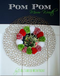 Pom Pom Wreath Holiday Mantel