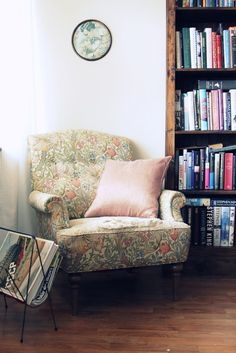armchair, reading corner, home, interior, studio, library, books, living room