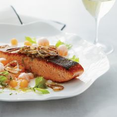 Salmon with Cantaloupe and Fried Shallots | Food & Wine