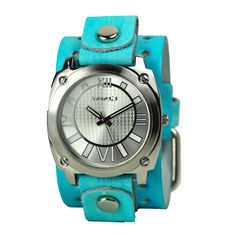 Nemesis Women's AVT066K Roman Numeral Collection Silver Aqua Leather Band Watch, (nemesis, star, tattoo, watches) <3