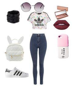 """""""Chill diet"""" by jaydenloveyourstyle04 ❤ liked on Polyvore featuring Topshop, adidas Originals, adidas, cutekawaii, Lime Crime, Urban Decay, Saachi and Monki"""