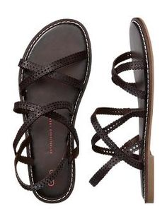 size 7 - 6 does not fit. Perforated multi-strap sandal | Gap