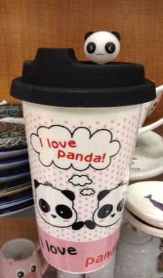 Panda Eco cup with silicone lid and panda head topper. Saving the world one cup at a time.