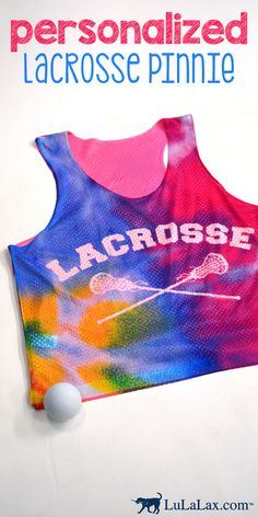 Our personalized lacrosse pinnies make the perfect gift for any lax girl! Rock this awesome tie dye lax pinnie on and off the field! LuLaLax.com