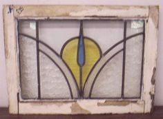 "OLD ENGLISH LEADED STAINED GLASS WINDOW Colorful floral design 20.75"" x 15.25"""