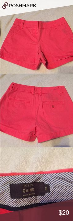 Hot pink J. Crew shorts These shorts are the perfect hot pink color, not to bright, but bright enough. Worn only one time! J. Crew Shorts