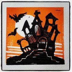 Halloween House Linocut #drukpersbrigade