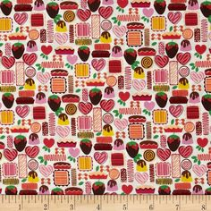 Mini Morsels Desserts Strawberry Pink from @fabricdotcom  Designed for Hoffman Fabrics, this cotton print is perfect for quilting and craft projects as well as apparel and home décor accents. Colors include shades of pink, red, brown, green, yellow, orange and white.