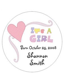 Its a Girl Heart Announcement Design Personalized Travel Candle Favors #wedding #favor www.BlueRainbowDesign.com