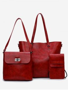Buy Minimalist Shopping 3 Pieces Shoulder Bag Set - Red Wine - online, fidn many other Women's Handbags Leather Purses, Pu Leather, School Purse, Wine Purse, Minimalist Bag, Large Shoulder Bags, Kate Spade Purse, Vintage Purses, Branded Bags