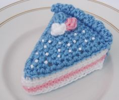Amigurumi blue cheesecake slice