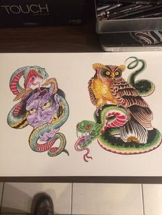 Hanya and snake. Owl and snake tattoo designs by Davin Evans. Marker pen drawings. Tattoo flash.