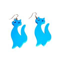 Imádnivaló kék cicás fülbevaló- pillekönnyű vagány divatékszer