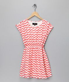 Take a look at this Coral Wavy Stripe Dress - Girls by A.B.S. by Allen Schwartz on #zulily today!