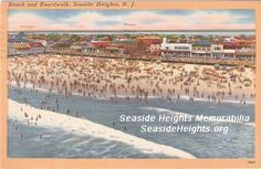Beach and Boardwalk Seaside Heights NJ 1940s