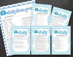 Baby Shower Games Blue Gray Elephant Chevron by designOrganized