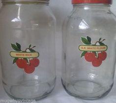 4-Storage-Jars-Red-Cherry-Labels-Vintage-Green-Scoop
