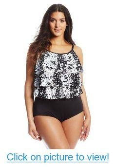 c7d89a1593ff8 Maxine of Hollywood Women s Plus-Size Triple Tier One Piece Swimsuit