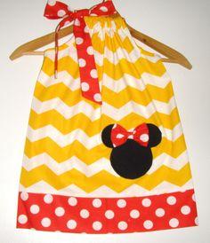 Minnie Blue white Chevron Pink dots and chevron ruffled panty \u0026 pillowcase dress appliqued Disney clothing 361218 months 2t3t4t5t ...